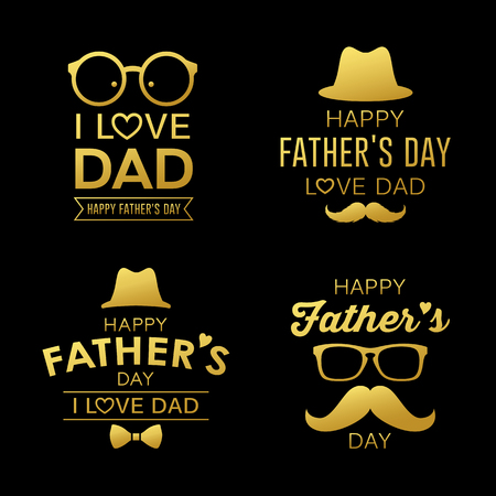 Happy Fathers day gold design collections
