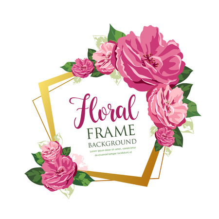 Pink floral frame design isolated on white