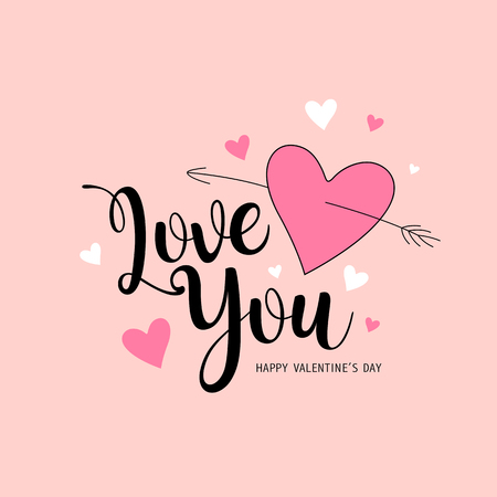 Happy Valentines Day Love you message pink and white heart Ilustração