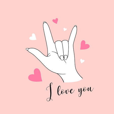 I love you, hand sign drawing with pink and white heart , illustration