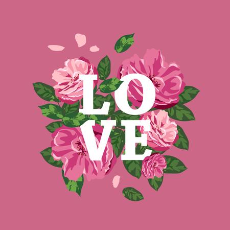 Pink flowers, white love message Happy valentines day concept design Ilustração