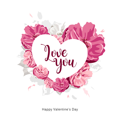 Love you message on white heart with pink flower happy valentines day
