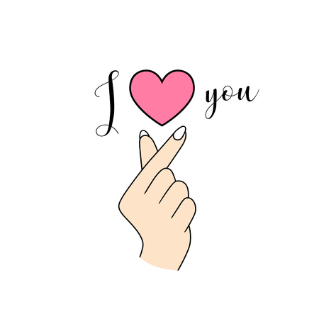Korean symbol hand heart I Love You isolated on white Ilustração