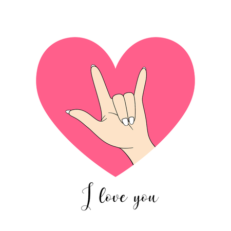 I love you, hand sign drawing with pink heart