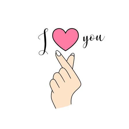 Korean symbol hand left heart I Love You isolated on white