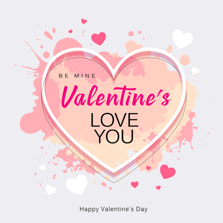Happy Valentines Day heart shape love you message watercolor pink