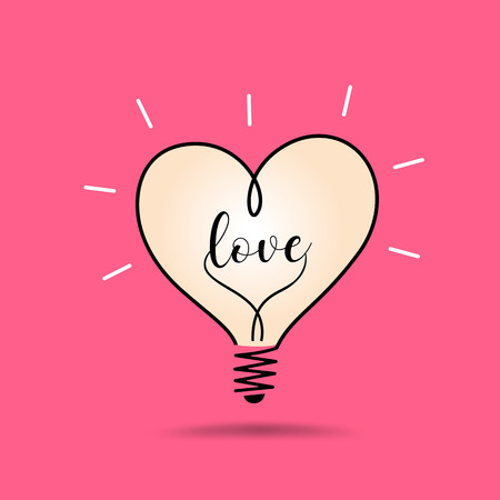 light bulb heart love, design on pink