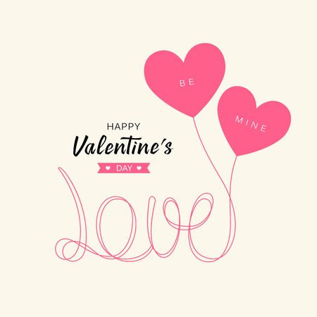 Heart balloons love message happy valentines day concept design