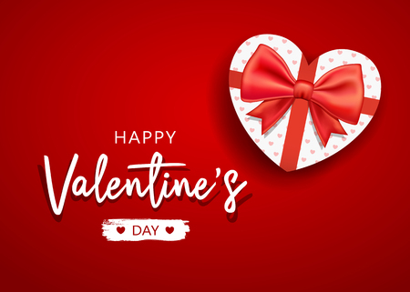 Happy Valentines Day message with gift box heart shape