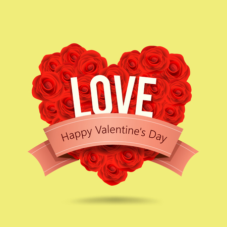 Happy Valentines Day red rose heart shape and  ribbon design on yellow