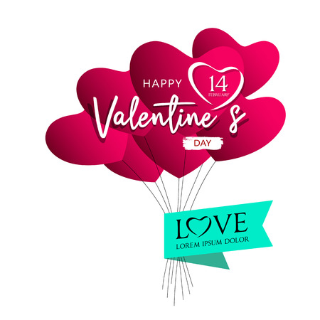Balloons red heart valentines day design on pink Imagens - 117897007