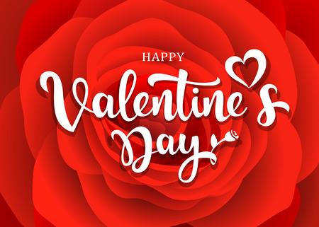 Happy Valentines Day message design on red rose Ilustração