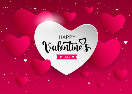 Happy Valentine's Day pink and white heart banners design Imagens - 117897009