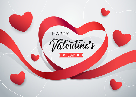 Happy Valentines day red ribbon heart shape banner design Imagens - 117897014
