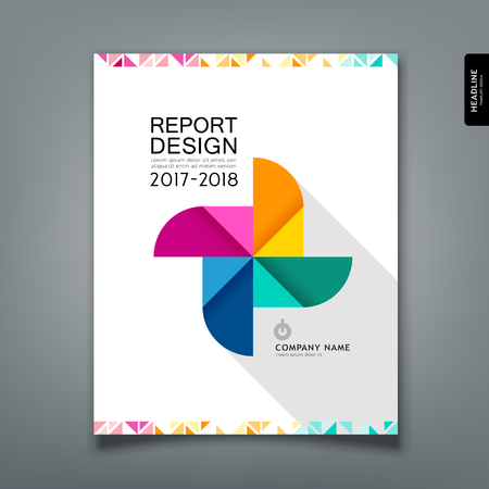 Annual Report colorful paper turbine design template Imagens - 117897011