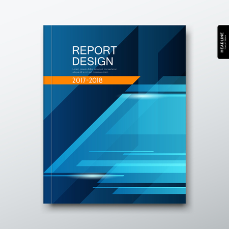 Cover annual report triangle geometry abstract on blue