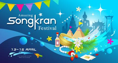 Amazing Songkran festival of Thailand water splash