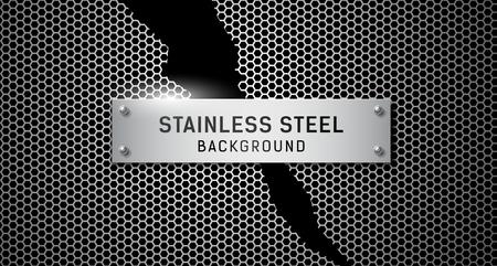 Stainless steel torn on black Ilustração