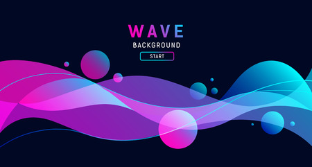 Abstract colorful wave on black  banner design Ilustração