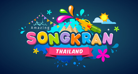 Amazing Songkran Thailand festival message colorful design banner