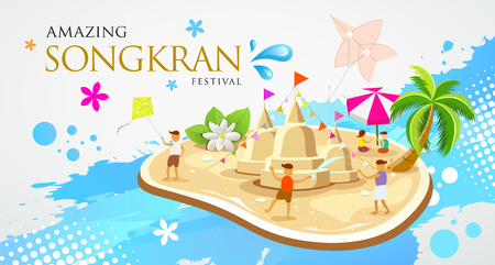 Thailand Festival Songkran Sand pagoda and kite with children are playing in the water design Illustration