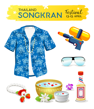Happy Songkran's Day Thailand collections isolated