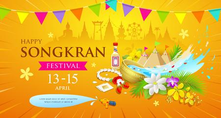 Happy Songkran Thailand Water splashing festival
