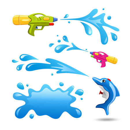 Happy Songrkran festival colorful gun and Splash water collections design, vector illustration Stock Illustratie