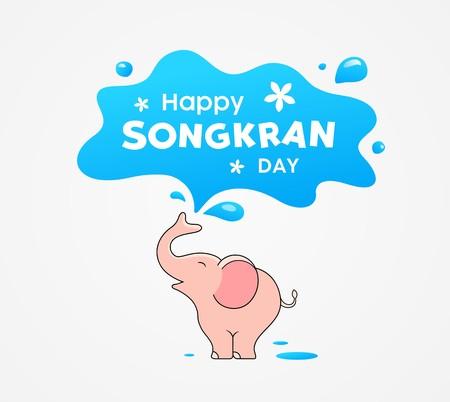 Happy Songkran Day Thailand festival, pink elephant water splash design, vector illustration
