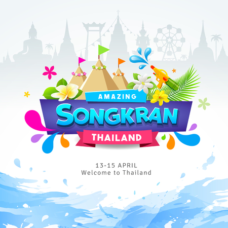 Happy Amazing Songkran Thailand Festival colorful ribbon banner water splash design background, vector illustration