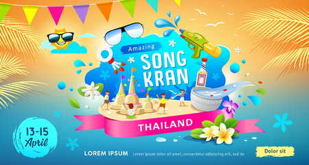 Amazing Songkran festival in thailand this summer colorful banners vector Illustration