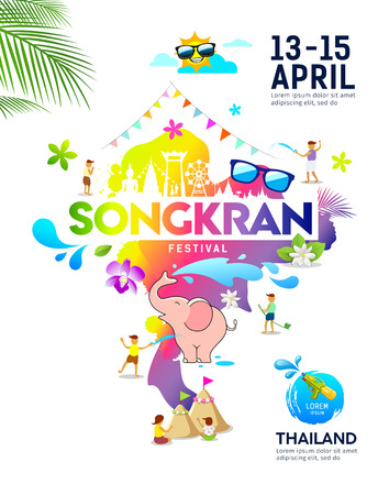 Amazing Songkran festival ideas map thailand colorful poster design Imagens - 120322901