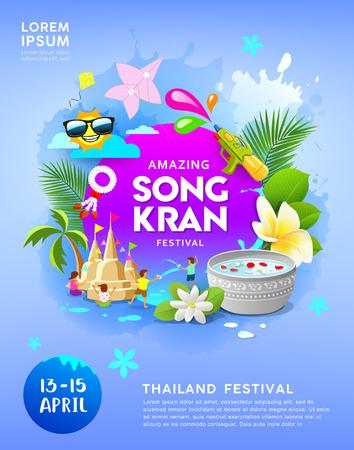 Feliz festival increíble de Songkran en Tailandia sobre fondo de cartel azul
