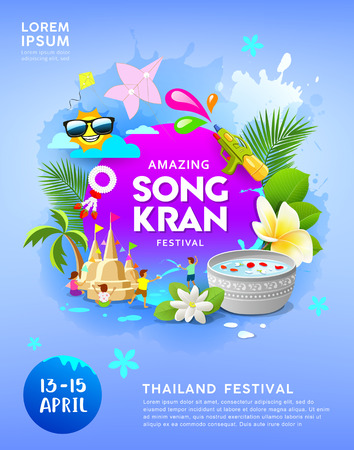 Happy Amazing Songkran festival thailand on blue poster background Ilustrace