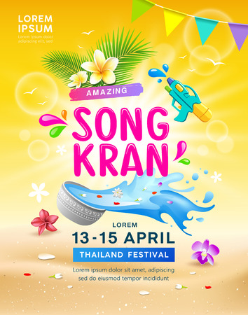 Happy Amazing Songkran travel Thailand festival , illustration