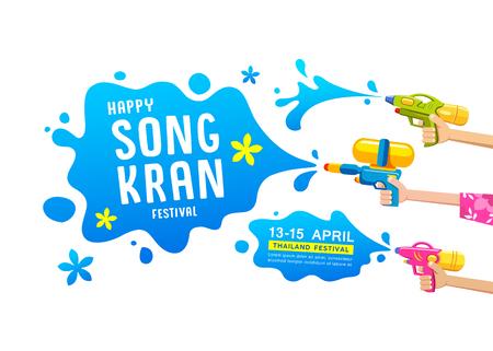 Happy Songkran festival thailand gun water in hands collections vector design Ilustração