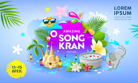 Happy Amazing Songkran festival Thailand vector on blue banner background, illustration Imagens - 120322912