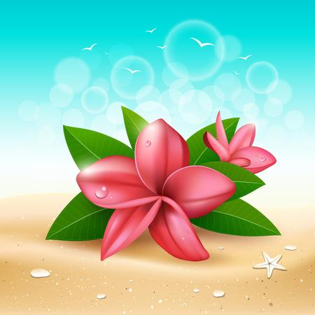 Vecteur de fleur et de feuille rose de Plumeria sur la conception de fond bleu de sable et de mer, illustration