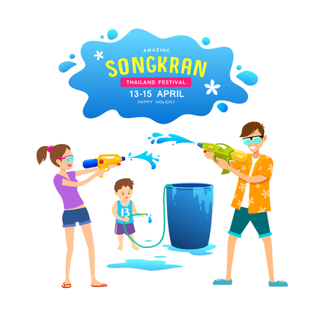 Vector men, women and children playing water guns on Happy Songkran Day, Thailand Imagens - 120322920