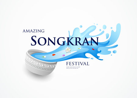 Amazing Songkran Thailand festival  bowl and water splashing