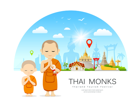 Thai monks and Thai novice with Thailand Place of respect for faith architecture Imagens - 122006787