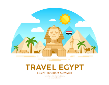 Egypt travel vector. Pyramid traditional design. summer holiday on sky and clouds Imagens - 124105409