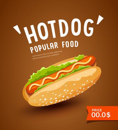 Hot dog promotion poster design on brown