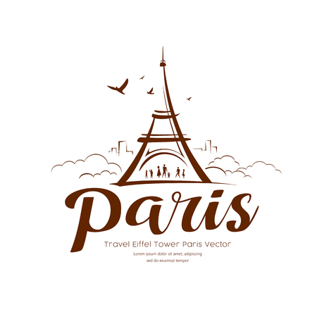 Eiffel tower Paris sketching  design Ilustração