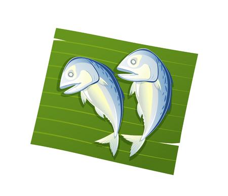 Steamed mackerel on leaf banana vector isolated on white