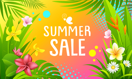 Summer Sale banners  colorful tropical design Imagens - 123371105