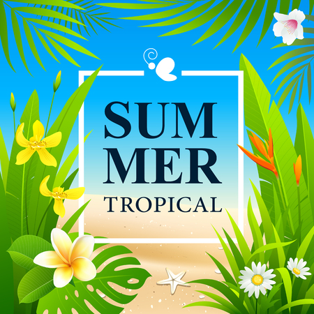 Summer Sale Tropical flower and green leaf