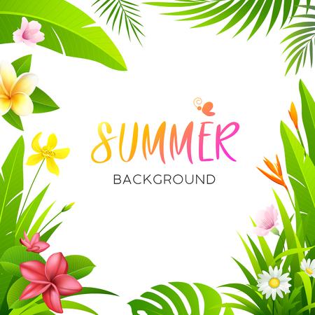 Letni tropikalny kwiat i zielony liść na białym tle