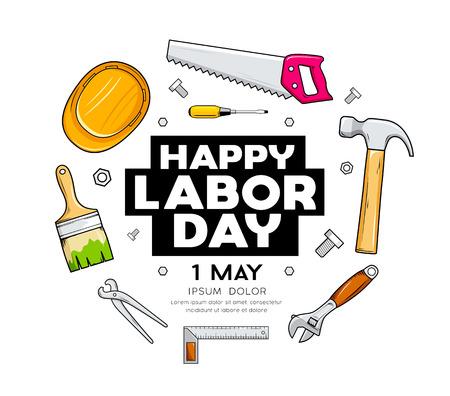 Happy Labor day Craftsman tool  design Ilustração