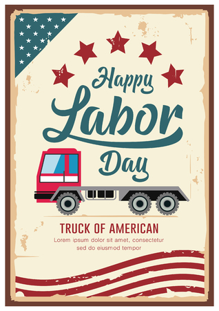 Poster Labor Day car truck of america vintage design Imagens - 123371109